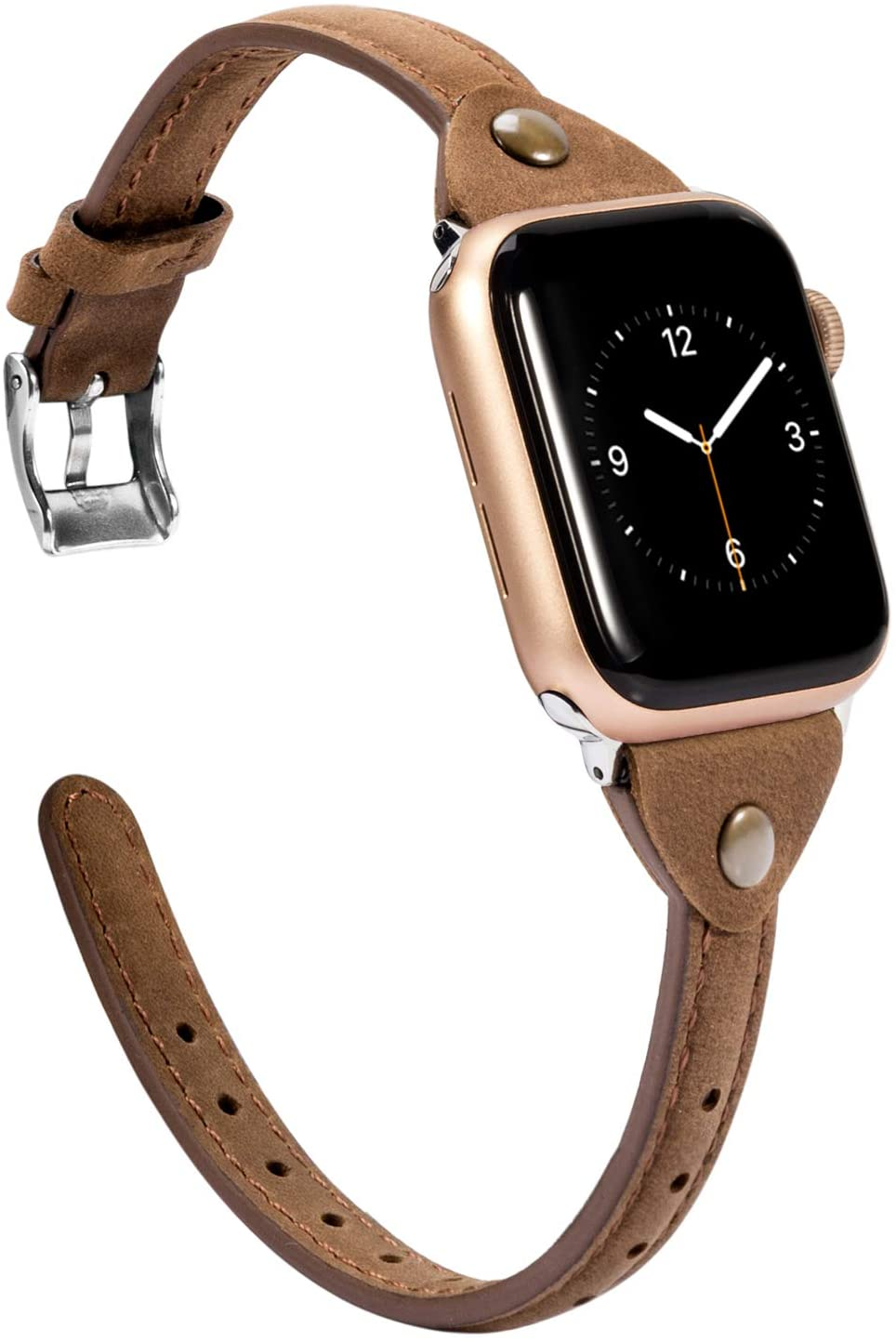 Wearlizer Scrub Deep Brown Leather Compatible with Apple Watch Thin Leather Band 42mm 44mm for iWatch SE Womens Mens Stylish Narrow Strap Simple Rivet Cute Wristband (Silver Clasp) Series 6 5 4 3 2 1