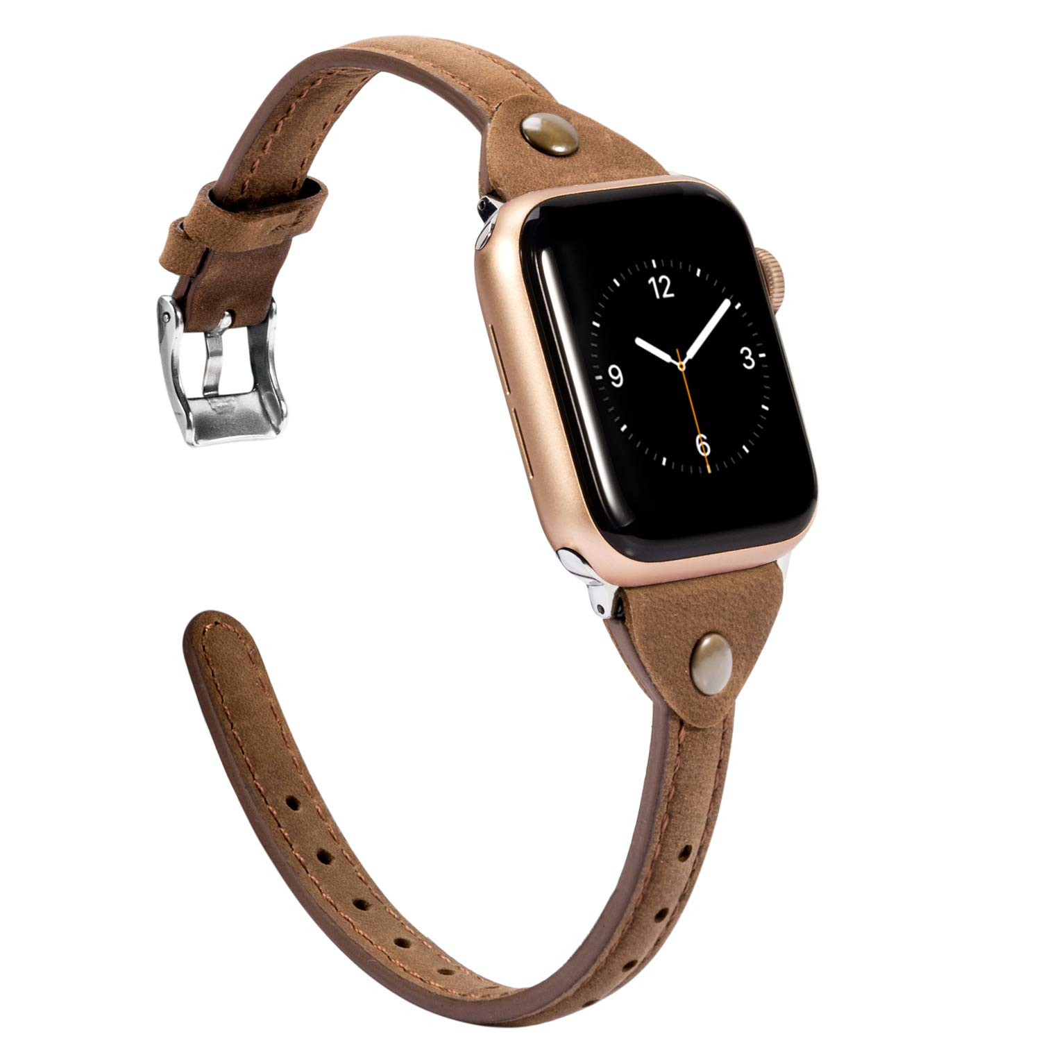 Wearlizer Scrub Deep Brown Leather Compatible with Apple Watch Slim Leather Band 38mm 40mm iWatch Womens Mens Strap Wristband Leisure Unique Bracelet (Silver Metal Clasp) Series 4 3 2 1 Sport Edition