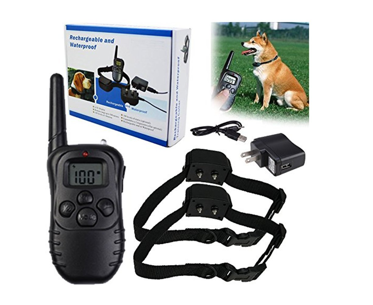 For 2 Dogs Pet Dog Training Collar 328Yd Waterproof Rechargeable 100 Level Shock Remote LCD, Dog Pet Training Collar Shock Vibrate For 1 Dog or 2 Dogs … (For 2 Dogs)