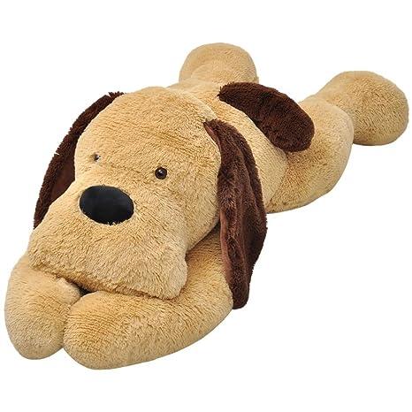 vidaXL Perro de peluche marrón 80 cm