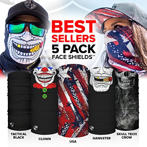S A Face Shields for Men and Face Shields for Women 5 Pack of Best Multipurpose UV Face Shields - Worn 12+ Ways as Head Wrap, Neck Gaiter, Headband, Face Shield, Bandana, Balaclava Life Time Warranty
