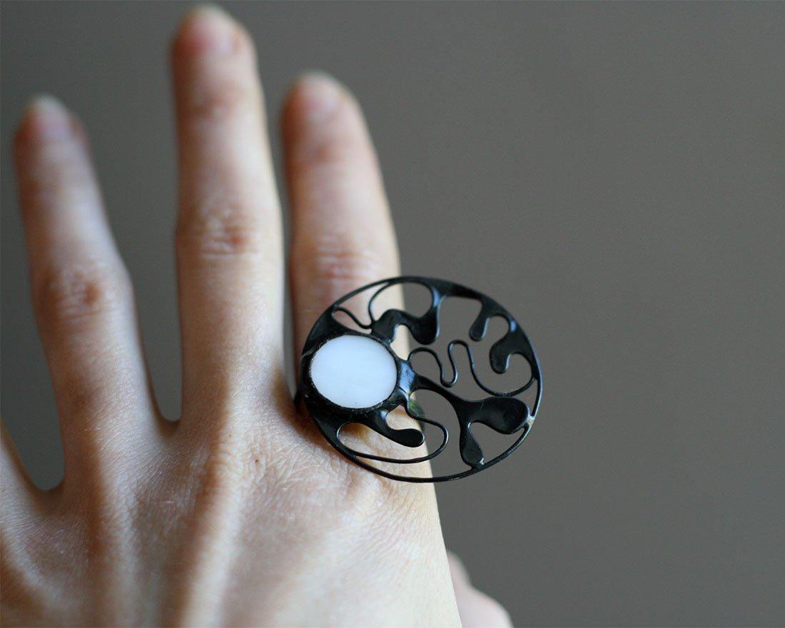 Amazon.com: Surreal White Ring, Big Statement Jewelry ...