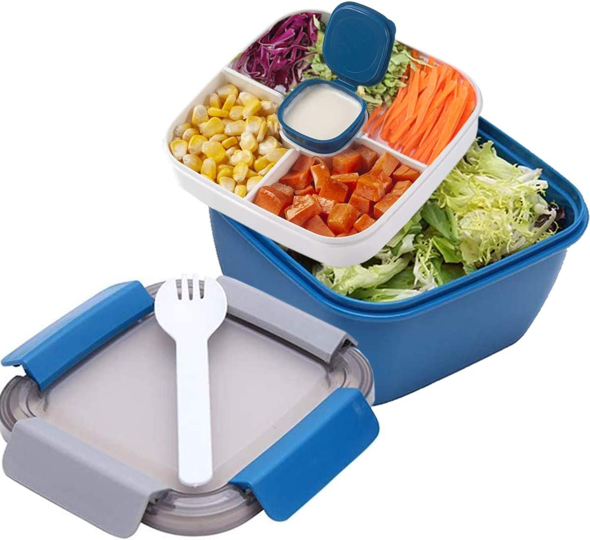 Salad Lunch Container with Large 51-oz Bowl, 3-Compartment Bento-Style Tray for Salad Toppings and Snacks, 3-oz Sauce Container for Dressings, and Built-In Reusable Fork (Blue)