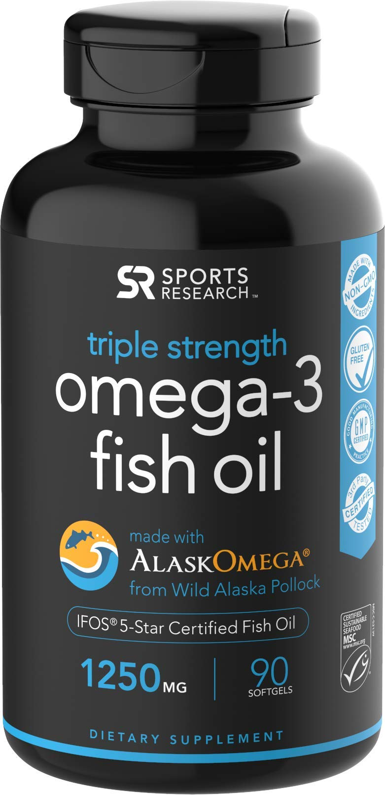 Omega-3 Wild Alaskan Fish Oil (1250mg per Capsule) with Triglyceride EPA & DHA | Heart, Brain & Joint Support | IFOS 5 Star Certified, Non-GMO & Gluten Free - 90 day Supply! by Sports Research