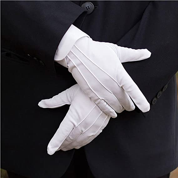 DH Formal White Cotton Gloves Tuxedo Honor Guard Parade Gloves 20 pairs