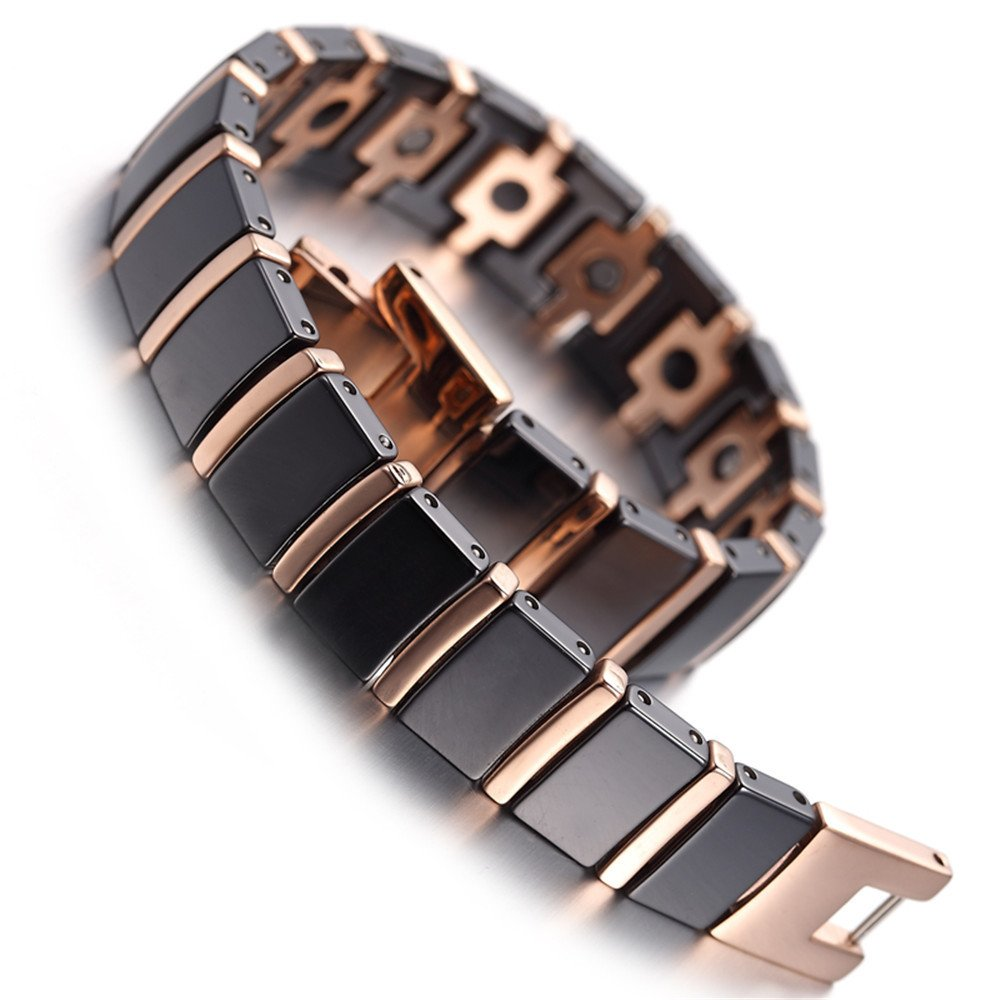 RainSo Mens Womens Magnetic Therapy Tungsten Bracelet Link Black & Rose Gold JEWAMUB413-US