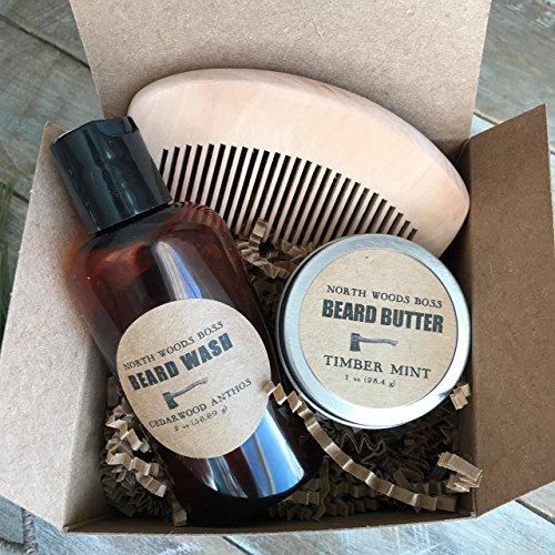 Mens Beard Gift Set Beard Comb Beard Oil Beard Wash For Him by North Woods Soap
