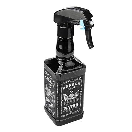 STRIR 500ml Botella de Spray Pulverizador para Peluquería de Estilo Whisky (Negro)