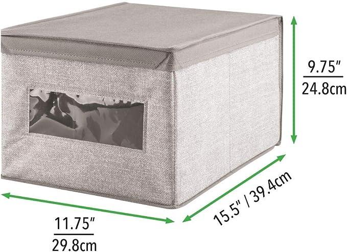 Color: gris Paquete de 4 Magn/ífica caja de tela jaspeada ideal para organizar armarios guardar prendas de ropa pa/ñales y art/ículos de beb/és mDesign Caja organizadora con tapa para cambiador