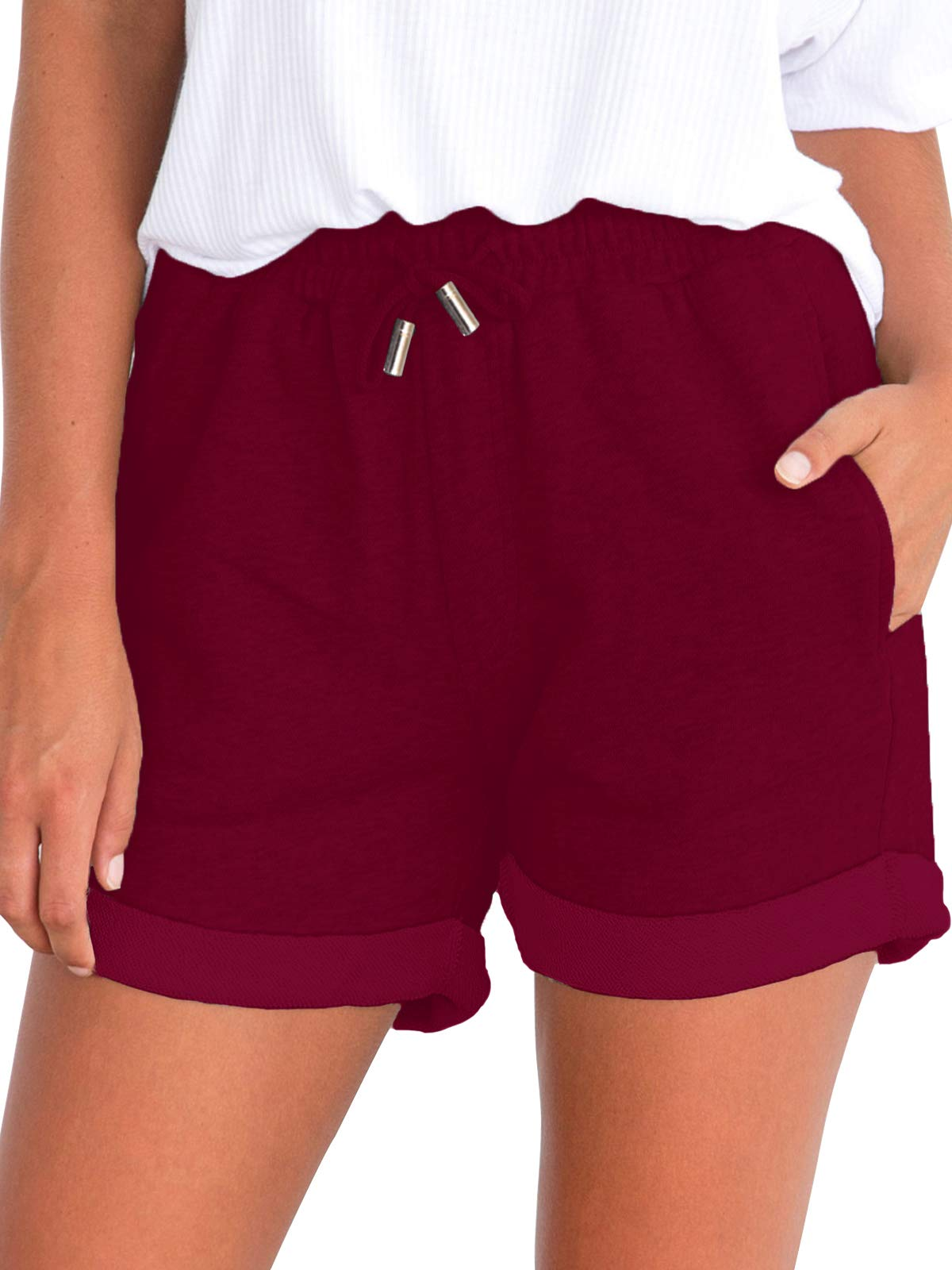 Govc Women's Juniors Shorts Casual Summer Elastic Waist Beach Shorts with Drawstring(Burgundy,S)
