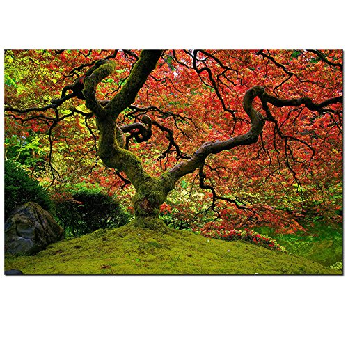 nese Maple Tree Wall Art,Framed Giclee Print,Fall Autumn Forest Pictures Paintings on Canvas Art for Home Office Decorations ()