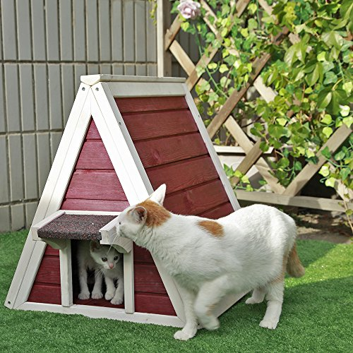 Petsfit Outdoor Cat Shelter For Feral Cat,Cat House Cat Condo Red