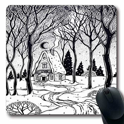 - Ahawoso Mousepads Badge Alpine Wood Cabin Winter Forest Trees Snow Adventure American Black Camp Chalet Coloring Design Oblong Shape 7.9 x 9.5 Inches Non-Slip Gaming Mouse Pad Rubber Oblong Mat
