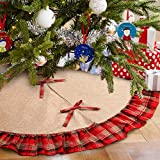 OurWarm Linen Burlap Christmas Tree Skirt Red Black Plaid Ruffle Edge Border Large 48 inches Round Indoor Outdoor Mat Xmas Party Holiday Decorations