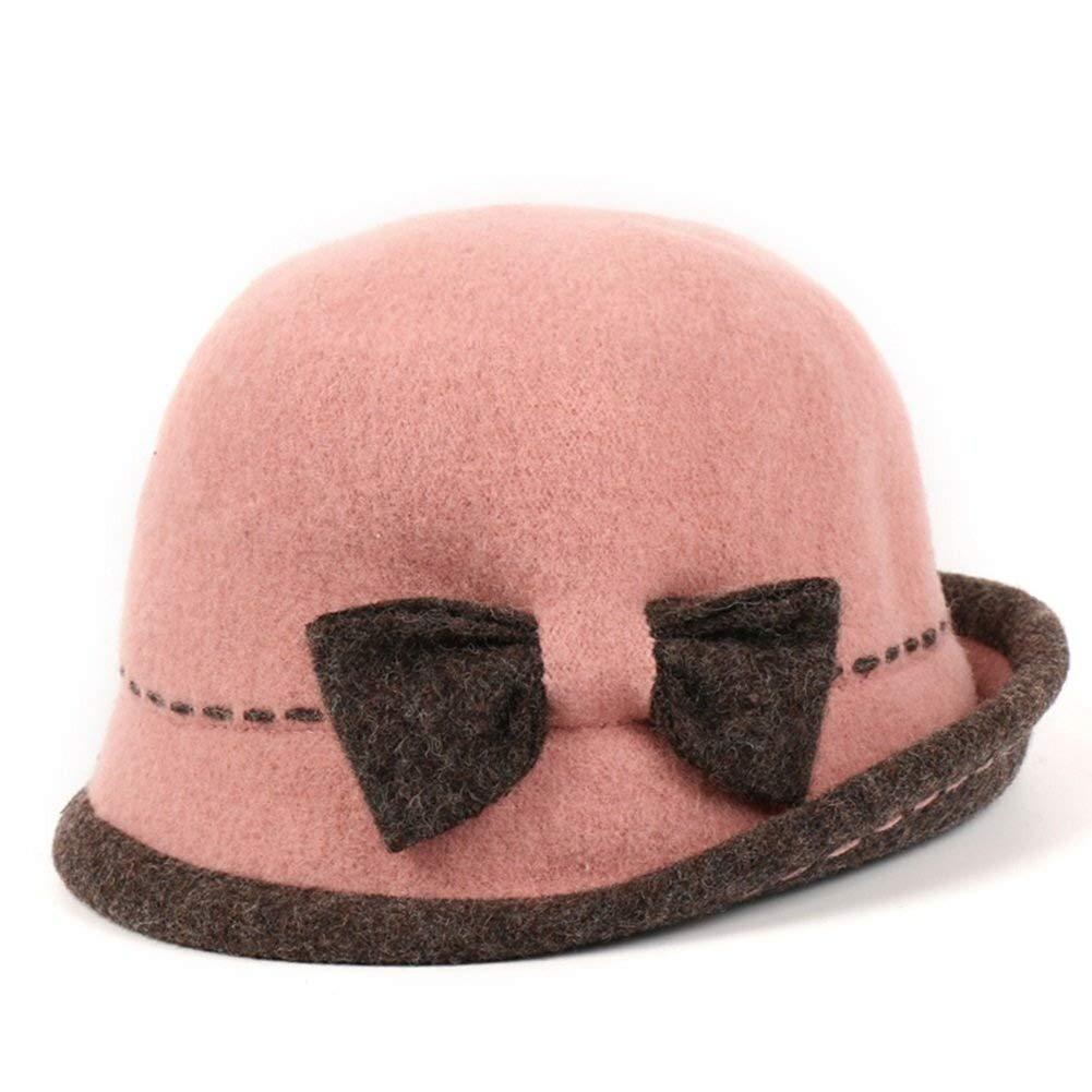 LUHEN Felt Hat, Elegant Lovely Bowknot Decoration Winter Bucket Hat (Color : Pink, Size : M)