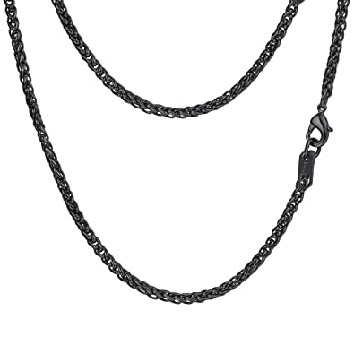 cf42e37a0 PROSTEEL Black Wheat Braided Chain Link Necklace Stainless Steel 3mm Spiga  Twisted Chain Choker Woven Chain