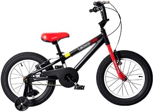 DYFYMXBicicleta niño bicicleta de pedal Bicicleta for niños niña y niño Bicicleta for niños de 16 pulgadas con rueda de entrenamiento y freno de mano, 95% ensamblado, negro Ejercicio seguro para niños: