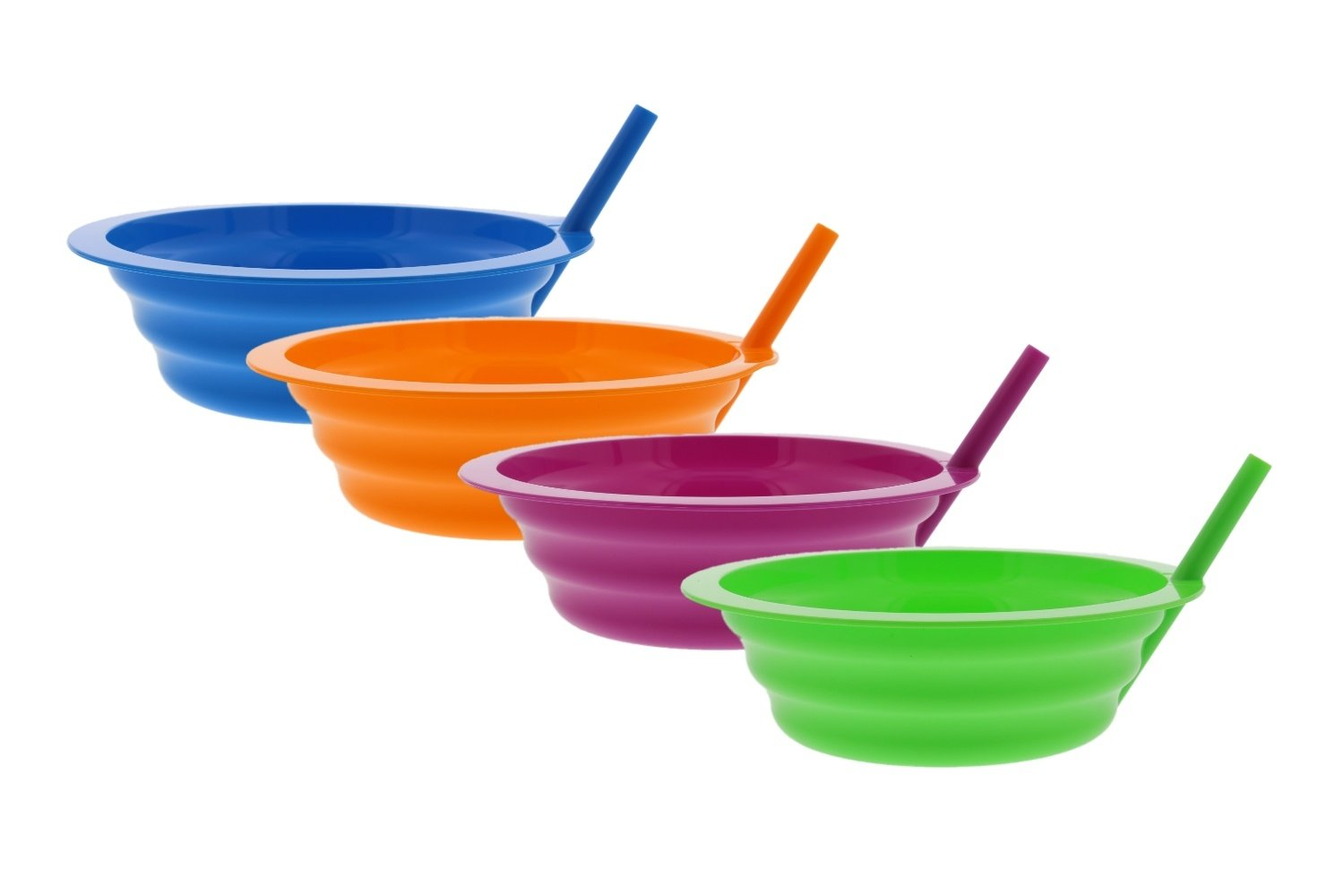 Arrow Sip-A-Bowl With Built In Straw, 22 oz, Blue, Purple,Green, Orange (4 Pack)