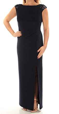 f8c9d933b8 LAUREN RALPH LAUREN Womens Dulcenetta Sequined V-Back Evening Dress Navy 2