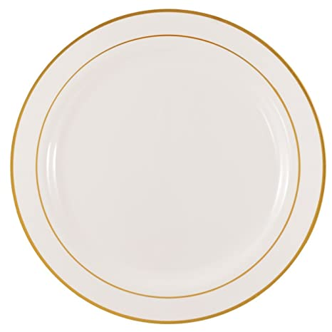 Kaya Collection - Disposable White with Gold Rim Plastic Round 9u0026quot; Buffet Plates - 2  sc 1 st  Amazon.com & Amazon.com: Kaya Collection - Disposable White with Gold Rim Plastic ...