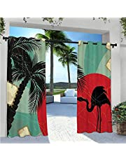 Outdoor Waterproof Curtain Panda Bears Walking Among Bamboo Majestic Mountain Jungle Cartoon Illustration Indoor Outdoor Deck Curtain Gives A Nice Polished Look Multicolor