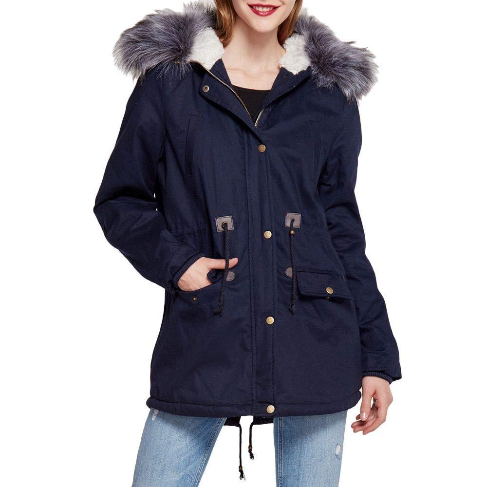 Kemilove Women's Waist Slim Hooded Large Fur Collar Plus Velvet mid-Length Cotton Coat