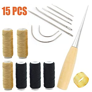 Fezep Upholstery Repair Kit, Upholstery Thread 3 Rolls Black (150 Yard) and 3 Rolls Beige (150 Yard) Includes a Heavy Duty Assorted Hand Sewing Needles kit
