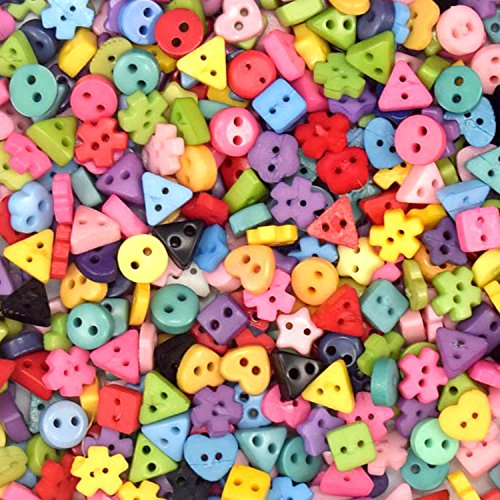 400pcs Assorted Colors Shapes Tiny 6MM Resin Button 2 Holes Sewing Craft
