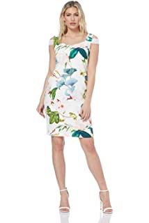 2b65736904 Roman Originals Women Sweetheart Floral Print Dress - Ladies Fitted Short  Sleeve Knee Length…