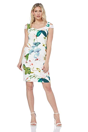 27340a3ee75d Roman Originals Women Sweetheart Floral Print Dress - Ladies Fitted Short  Sleeve Knee Length Cold Shoulder Wedding Guest Occasion Smart Formal Dresses   ...