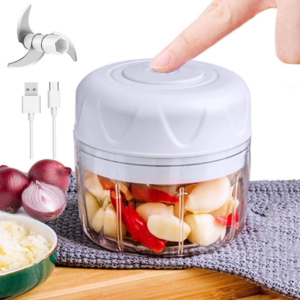Electric Mini Garlic Choppe,Garlic Mincer, Portable Cordless Vegetable Food Processor,Mincer Blender Mixer,USB Rechargeable Powerful Food Chopper for Onion,Grinder and Salad(100ML)