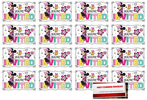 16 Minnie Mouse Postcard Invitations Birthday Party Supplies Value Pack Plus Party Planning Checklist -