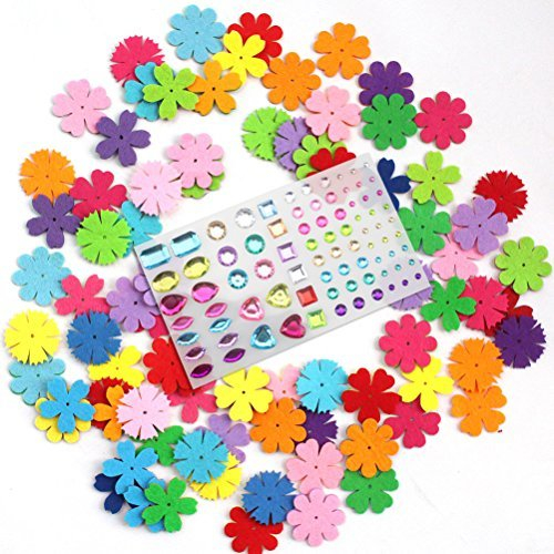 Creatrill 160 Pieces 4 Styles Felt Flowers with 196 Pieces 5mm Self Adhesive Rhinestone Crystal Gems Stickers Kit for Art Craft DIY