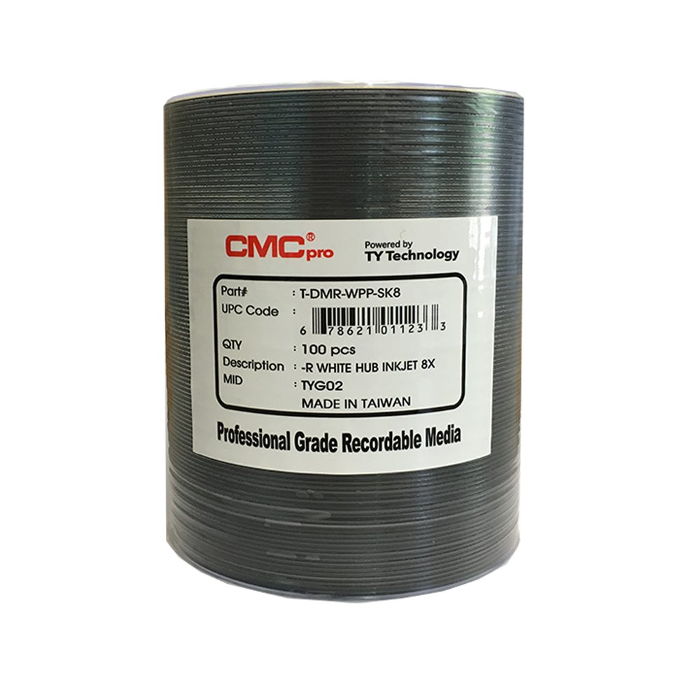 CMC Pro - Powered by TY Technology 4.7GB, White Inkjet, 100 Disc Tape Wrap, No Stacking Ring, (Hub Printable)