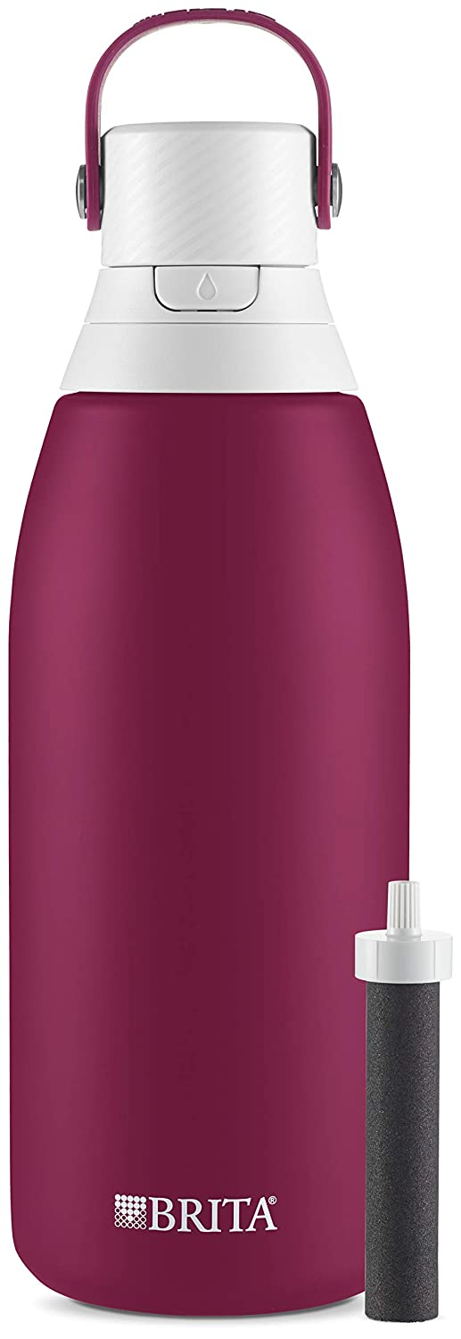 Brita 36477 Premium Filtering Water Bottle, 32 Ounce, Ruby