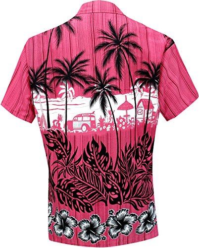 botón de blusas hasta la playa hawaiano camisa desgaste para mujer de manga corta traje de baño rosado rosado