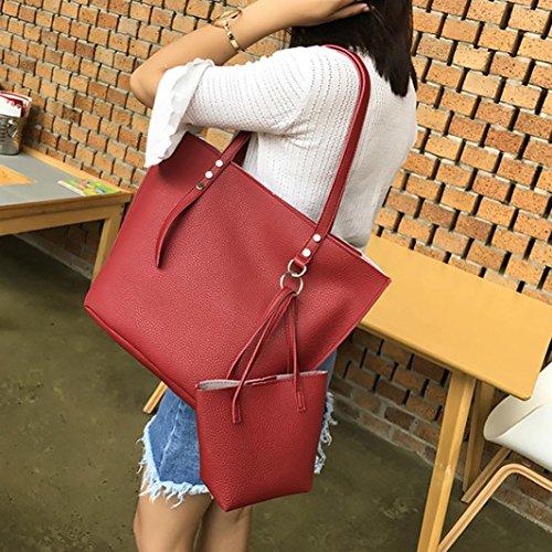 de Piezas Grande Lona Hombro y Mujer Rojo Bolsos Baratos ✦JiaMeng Bandolera Niña de Shoppers para 4 6n85wEx