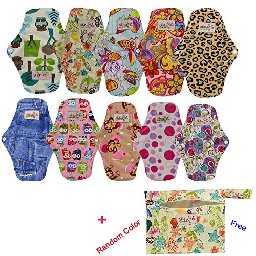 OHBABYKA Reusable Women Bamboo Sanitary Napkins Menstrual Pads/Cloth, a Mini Bag, Size M