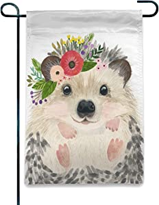 Welcome Seasonal Garden Flag Hedgehog Paint Home Garden Flag Vertical Double Sided Spring Summer Decorative Rustic/Farm House Small Decor Yard Flags Set for Indoor & Outdoor Decoration 12x18 Inch