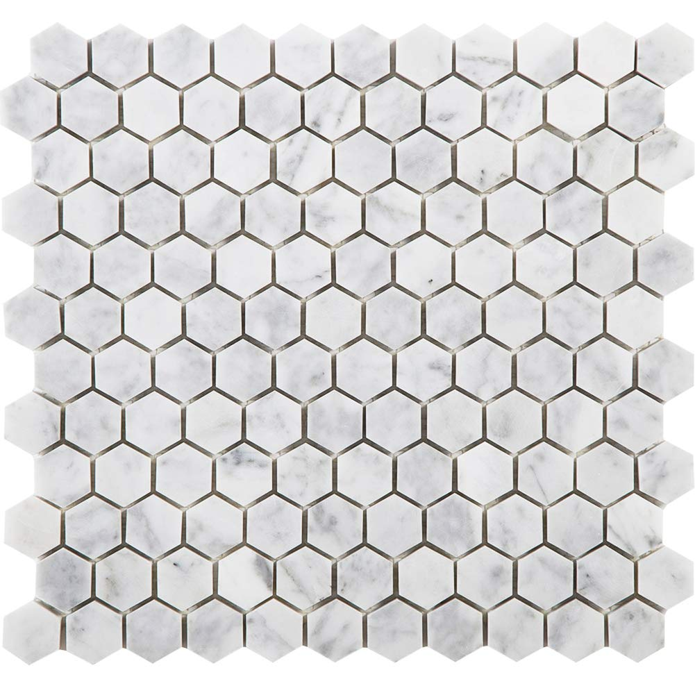 Diflart Bianco Carrara White Marble Hexagon Mosaic Tile 1 inch Polished New