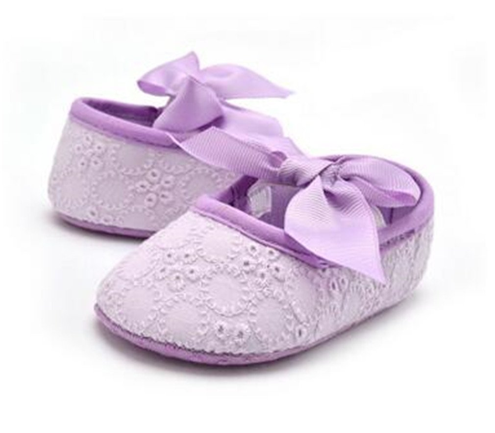 Boy Girl Baby Soft Shoes Soled Non-Slip Footwear Crib Shoes Lavender 7-12 Months