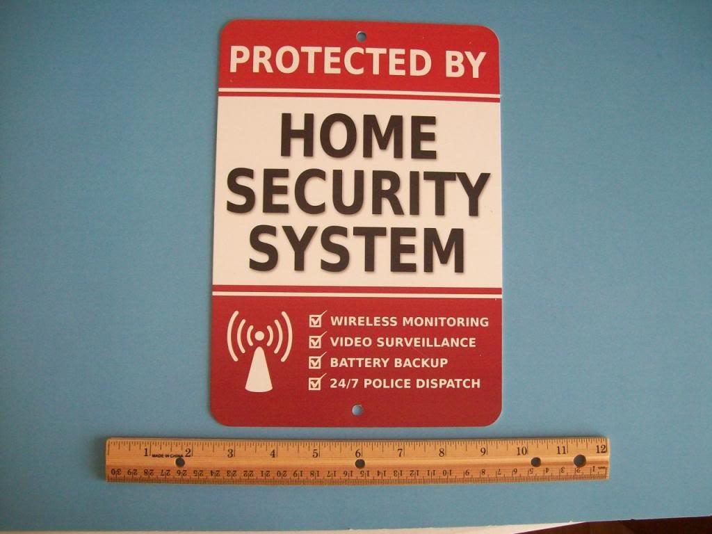 Home Security Alarm System 7'' x 10'' Metal Yard Sign - Stock # 703