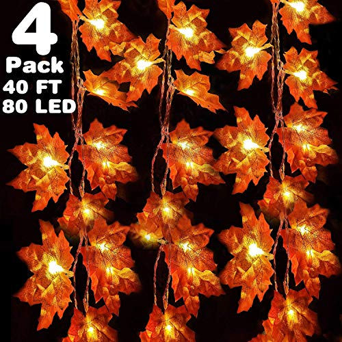 Grandeals 4 Pack Fall Maple String Light,Total 40Ft / 80 LED Lights Garland Wreath Decorations for Party Thanksgiving Christmas Festival Decor Indoor Home Outdoor Garden Gift from Camlinbo