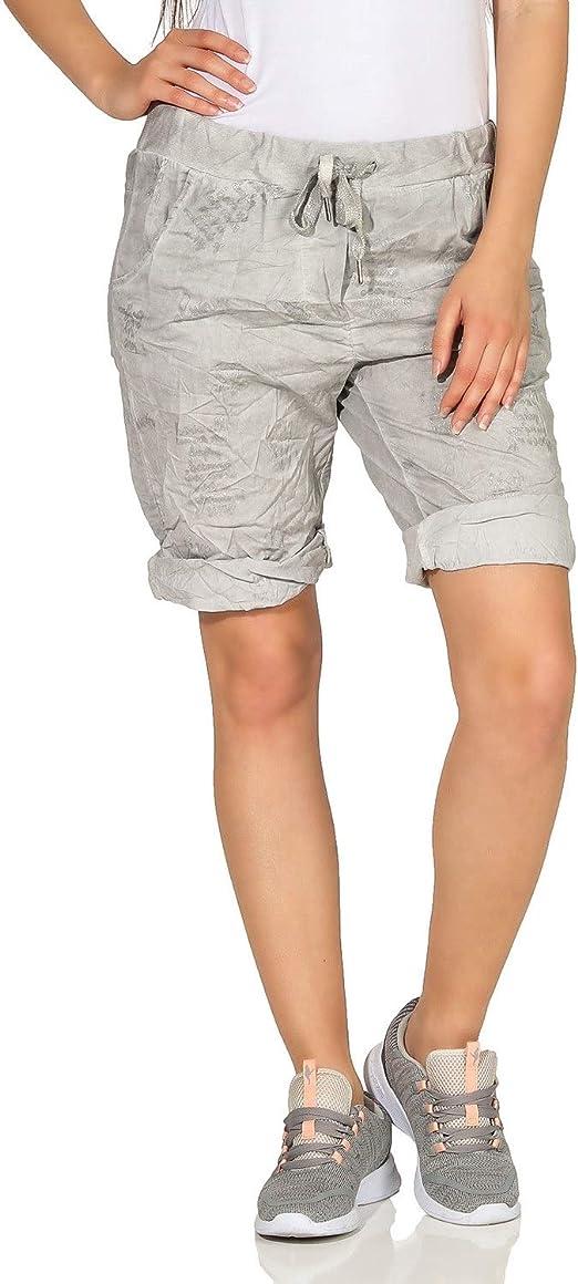 ZARMEXX Damen Capri Hotpants Bermudahose verwaschene leichte Sweat Shorts Vintage Look
