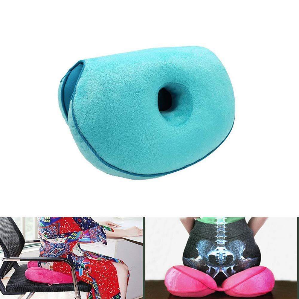 Cuscino di Supporto in Schiuma Memory Ortopedica per alleviare la Pressione del Dolore alla Sciatica Blue MFLB Cuscino Dual Comfort Lift Fianchi sul Cuscino del Sedile al coccige e allanca