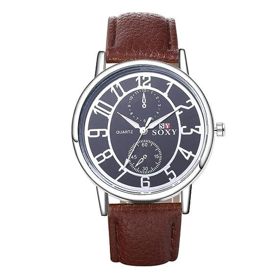 Relojes para hombres baratos movimiento de cuarzo negro Cercle marrón piel Strape al por mayor reloj: Amazon.es: Relojes