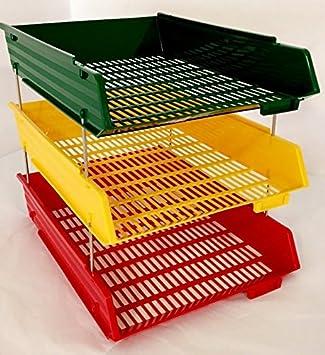 Archivador A4 con bandejas del color del semáforo (3 bandejas de color rojo, amarillo