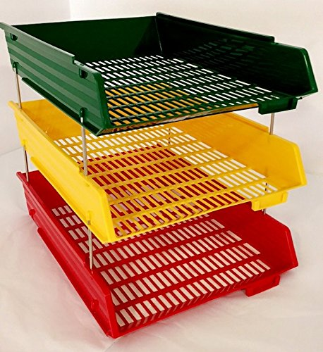 Traffic Light Schreibtischablage / Dokumentenfächer, A4-Format, Set enthält 3Ablagefächer in Rot, Gelb und Grün Red Yellow Green with Risers Faibo