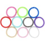 Phone Cord Hair Tie by - Telephone Wire Hair Tie for women that holds hair tight and are stylish (10pack)
