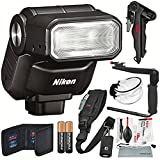Nikon 1 SB-N7 Speedlight (Black) and Photographers Deluxe Bundle w/ Xpix Pro Camera Strap, Tripod, Complete Cleaning Kit + Diffuser + Flash Bracket + SD Wallet + More